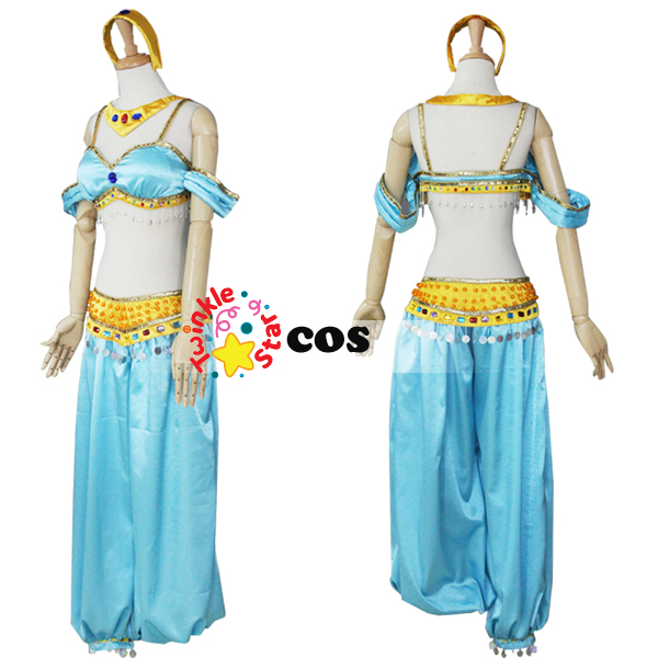 halloween costume for adult women aladdin and the magic lamp cosplay costume princess jasmine. Black Bedroom Furniture Sets. Home Design Ideas