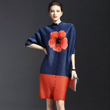 2017 European Style Spring Summer Fold Dress Three Quarter Sleeve Chinese Flower Print Women Office Mini Loose Vintage Dress