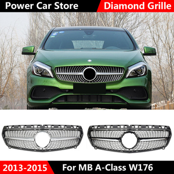 Diamond Front Grille For Mercedes Benz A-Class W176 Gloss Black Without Emblem Badge ABS Replacement 2013-15 A180 A250 A200 A300 for mercedes benz gla x156 front grille silver abs gla45 amg gla180 gla200 gla250 without central logo front racing grille 14 16