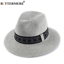 BUTTERMERE Paper Straw Sun Hats For Women Summer Grey Hat With Belt Men Solid Classic Jazz Holiday Brand UV Beach Fedora Cap