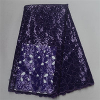 Purple Color African Organza Fabric 2018 Double Organza Lace Fabric Sequins Mesh Lace Fabrics For Wedding Dress PSA171 3