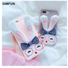 Gimfun Korea Warm Simple Rabbit Plush Case for IPhone8 8plus 7 7plus 6 6s 6plus Ear Stand Phone Back Cover Case Capa for IPhonex