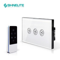 Shinelite Free Shipping White Crystal Glass Panel US AU Standard Remote Wall Switch Fan Remote Home