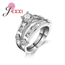 JEXXI Authentic 925 Sterling Silver Double Ring Sets for Women Jewelry With AAA+ Cubic Zirconia Crystal Free Shipping  Females