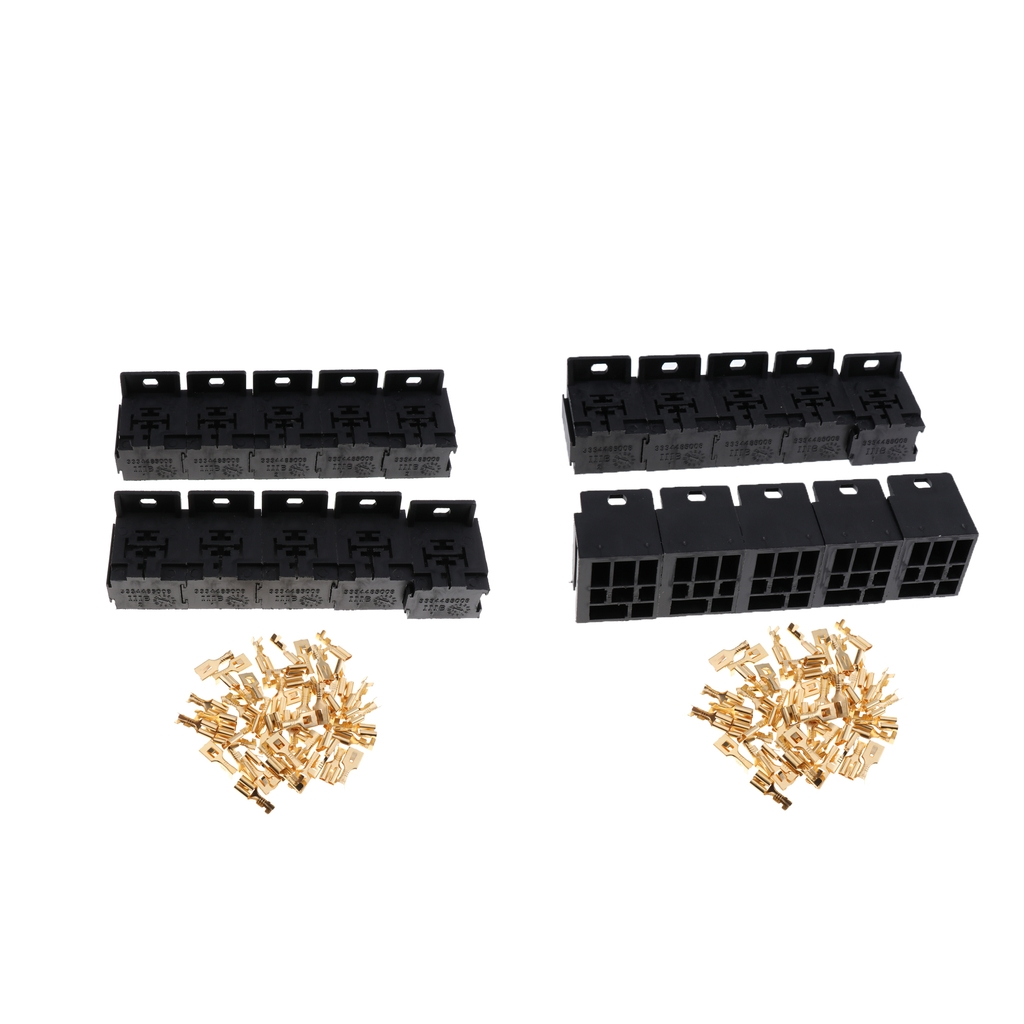 1set Car Auto Vehicle 5 Pin Relay Socket Holder With 5pcs 63mm Connector 20 Pieces Automotive Holders Copper Terminals