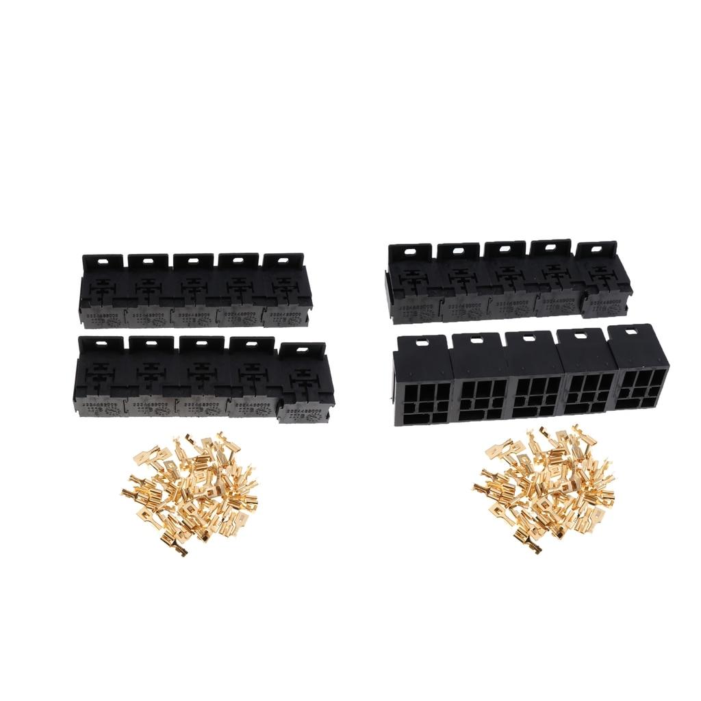 5 Pin Flasher Relays Plug Holder Socket Base 6.3mm Crimp Terminals Kit 12V 4
