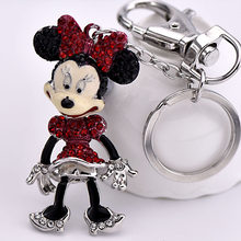 5 cores Bonito Big BowKnot Strass caixa Criativo mickey mouse keychain(China)
