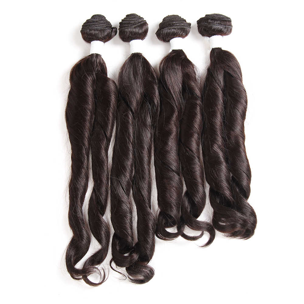 X-TRESS Funmi Curly Synthetic Hair Weave Bundles 16-18inch 4Pieces Ombre Brown Color High Temperature Fiber Hair Weft Extensions