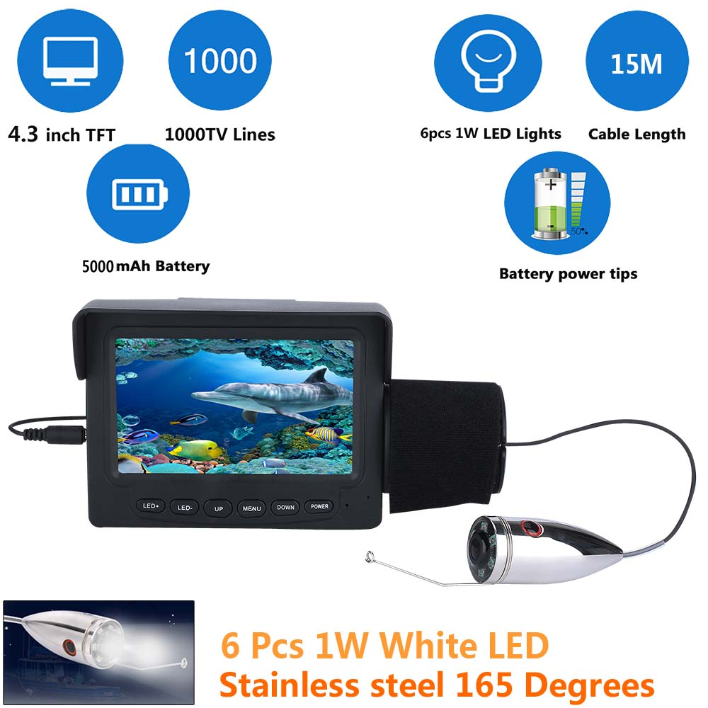 "Здесь продается  MAOTEWANG 15M 30M Stainless steel 1000tvl Underwater Fishing Video Camera Kit 6 PCS White LED with 4.3"" Inch Color Monitor  Спорт и развлечения"