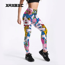 6450f47460509 XAXBXC 4136 Kawaii Blue Cat Flower Printed Elastic Slim Fitness Workout  Push Up Sexy Women Leggings Femme Pencil Pant Plus Size
