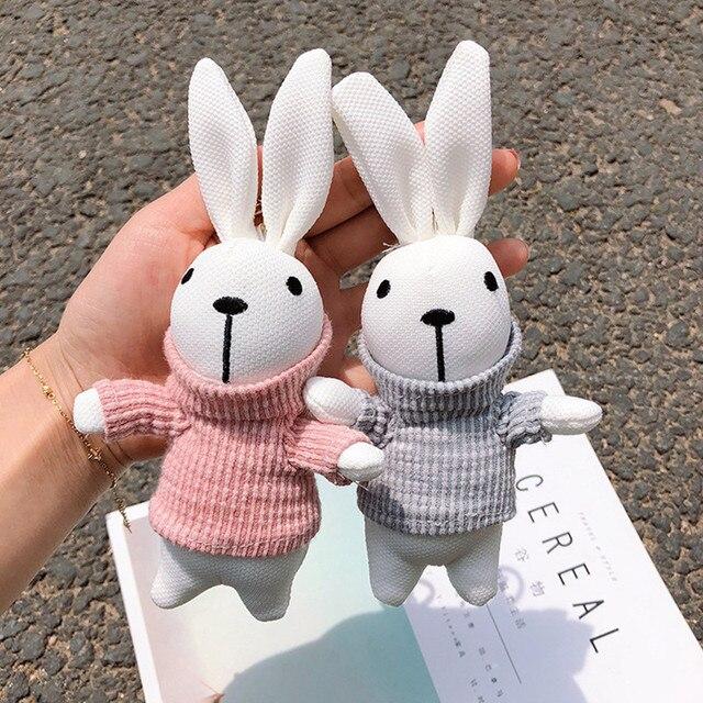 Criativa dos desenhos animados bonito chaveiro coelho camisola boneca chave do carro saco cadeia feminina pingente de moda