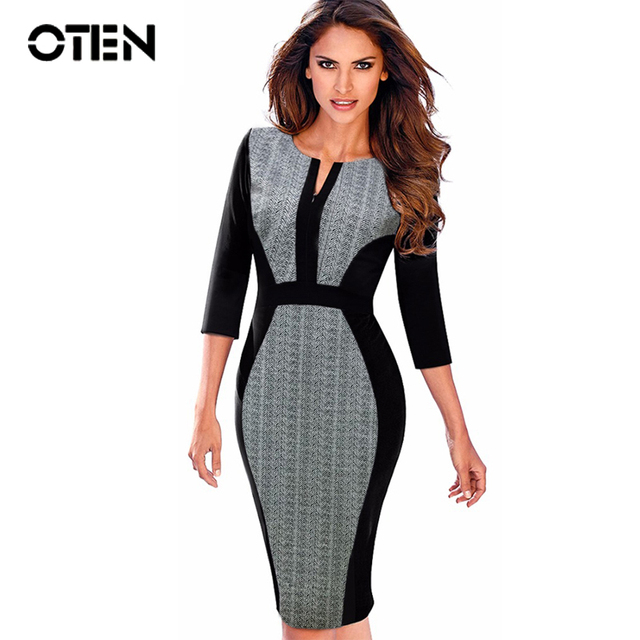 e6d0beef88d OTEN Women business casual clothing 3 4 sleeve Spring Autumn office lady  Work Wear fitted