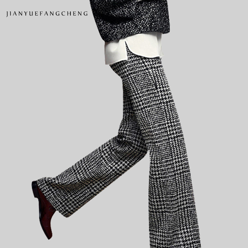 2018 Casual Womens Winter Wide Leg Wool Pants All-Match High Waist Plus Size Plaid Trousers Female Zip-Up Long Pants Bottoms