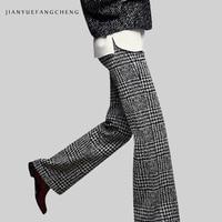 2018 Casual Womens Winter Wide Leg Wool Pants All Match High Waist Plus Size Plaid Trousers Female Zip Up Long Pants Bottoms