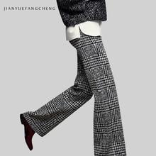 2018 Casual Womens Winter Wide Leg Wool Pants All-Match High Waist Plus Size Plaid Trousers Female Zip-Up Long Pants Bottoms недорого