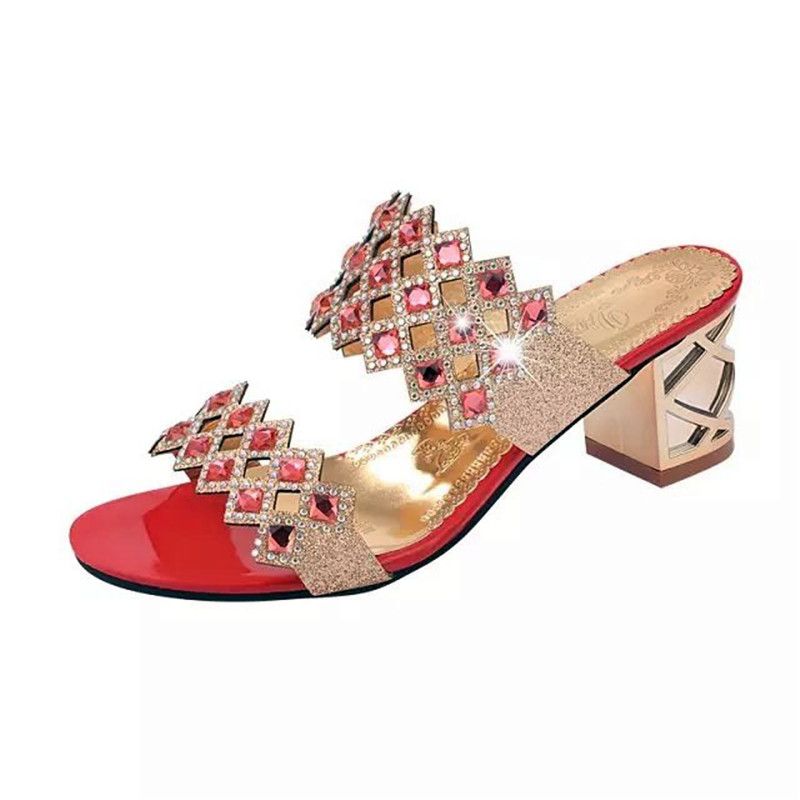 Fashion Rhinestone Women High Heel Slip-On Sandals Red Blue Green Gold Ladies Summer Shoes Woman Sandal Slippers Zapatos Mujer lanshulan bling glitters slippers 2017 summer flip flops platform shoes woman creepers slip on flats casual wedges gold