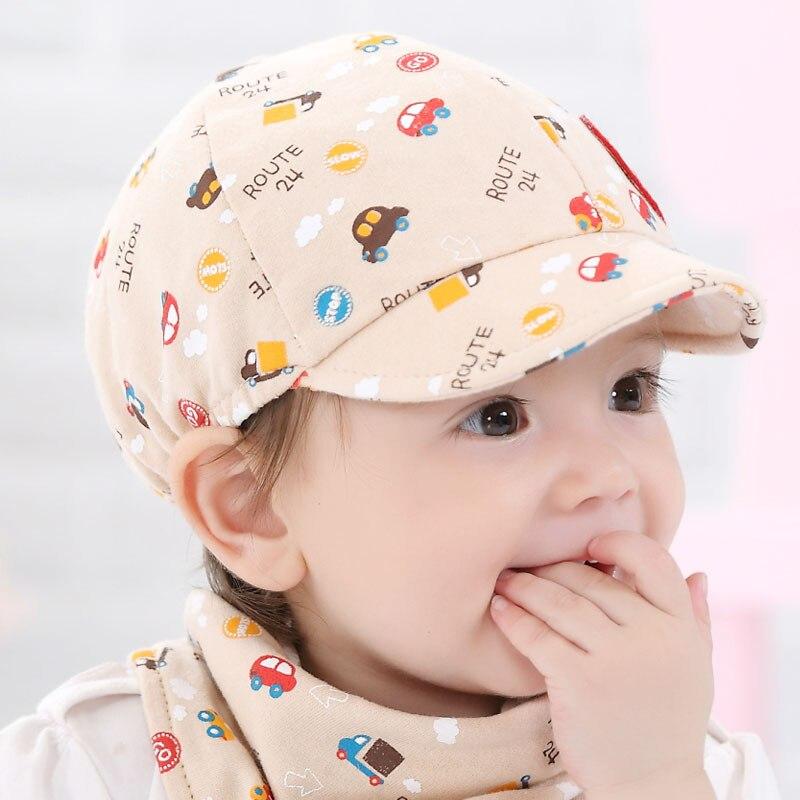 KLV/Детские Малыш Мальчик девочка Snapback мультфильм печати для малышей Шапка маленький автомобиль Бейсбол берет ребенка в возрасте 0-24 месяцев ...