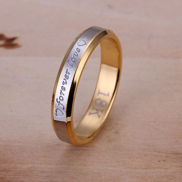 Fashion Jewelry18k Gold Plated Letter Forever Love Simple Circle Real Ring Wedding