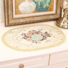 European Western Food Mat Luxury Embroidery Coaster Coffee Table Pad Oval Fabric Antique Christmas Wedding Decoration Placemat