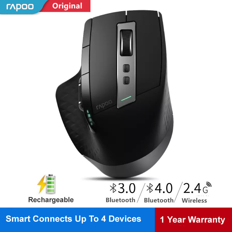 Rapoo Rechargeable Wireless Mouse Laser Mice Switch Between Bluetooth 4.0/3.0&2.4G For 4 Device Connect Desktop/Tablet PC/Phone