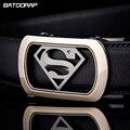 [BATOORAP] 2017 Marca de Lujo Para Hombre Superman Cinturón Cinturones Hebilla Automática Correa de Cuero Genuina de Los Hombres Accesorios de La Correa de Cintura Ocasional nueva