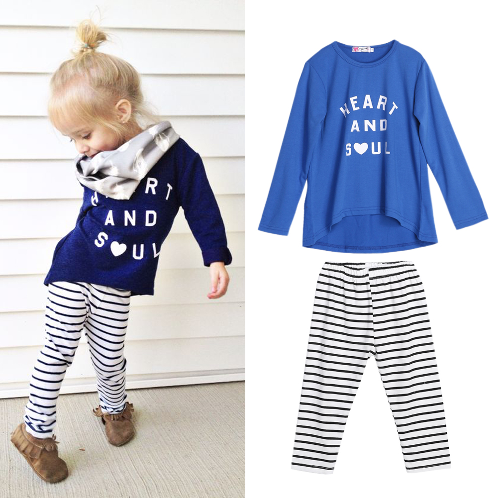 Children Sports Suit Girls Clothes Casual Outfit Kids Clothes Blue T-Shirt Stripe Pants 2Pcs Outfit Toddler Girl Clothing Sets 2pcs children outfit clothes kids baby girl off shoulder cotton ruffled sleeve tops striped t shirt blue denim jeans sunsuit set