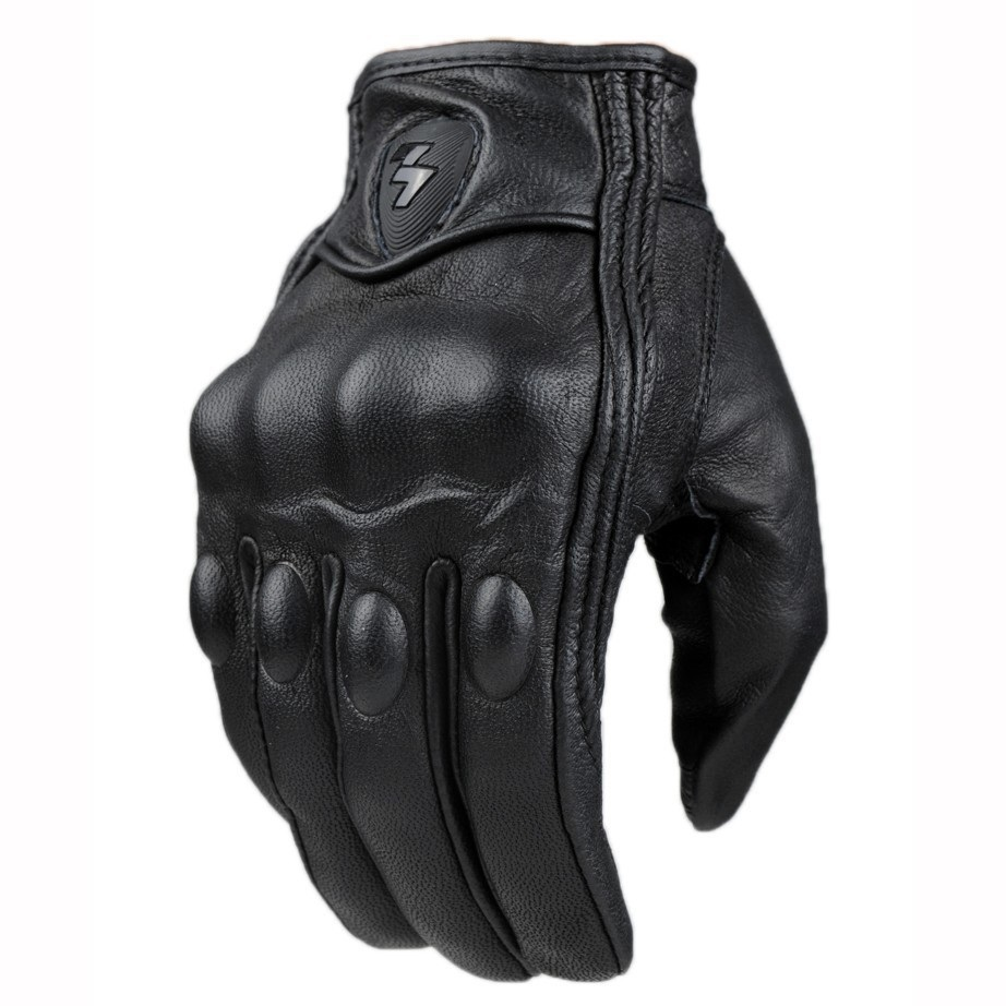 Men Motorcycle Gloves Outdoor Sports Full Finger Motorcycle Riding Protective Armor Black Short Leather Gloves