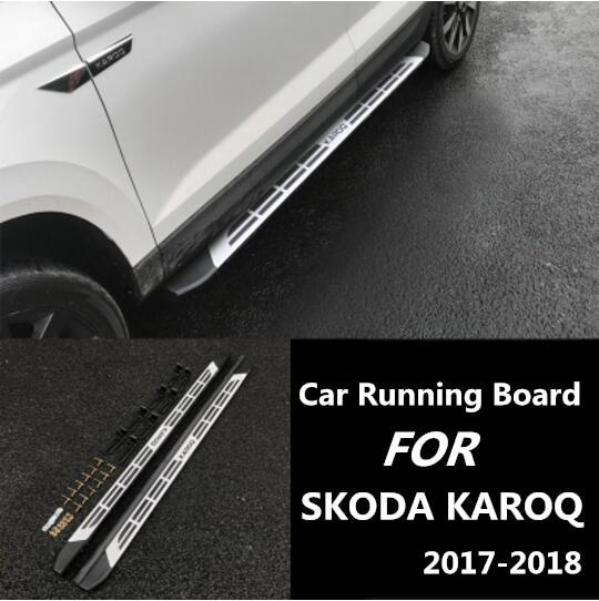 JIOYNG Aluminum Alloy + ABS Car Running Board Side Step Nerf Bar Guard Fits For SKODA KAROQ 2017 2018 Sport Style