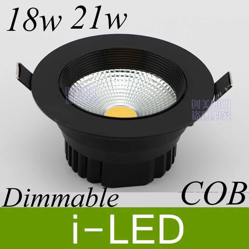 Black Silver Shell Led Cob Downlight Dimmable 18w 21w Led Recessed Spot Lights Lamp AC85-265V Indoor Led Lighting CE&ROHS UL