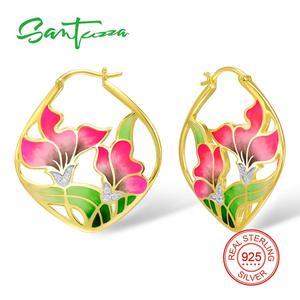 Image 1 - SANTUZZA Silver Earrings For Women 925 Sterling Silver Flower Dangle Earrings Gold Color Fashion Jewelry Handmade Enamel
