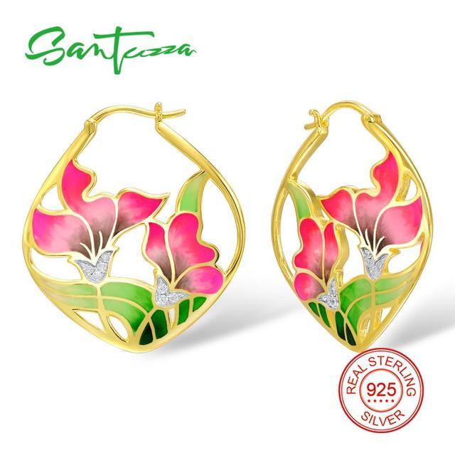 SANTUZZA Silver Earrings For Women 925 Sterling Silver Flower Dangle Earrings Gold Color Fashion Jewelry Handmade Enamel
