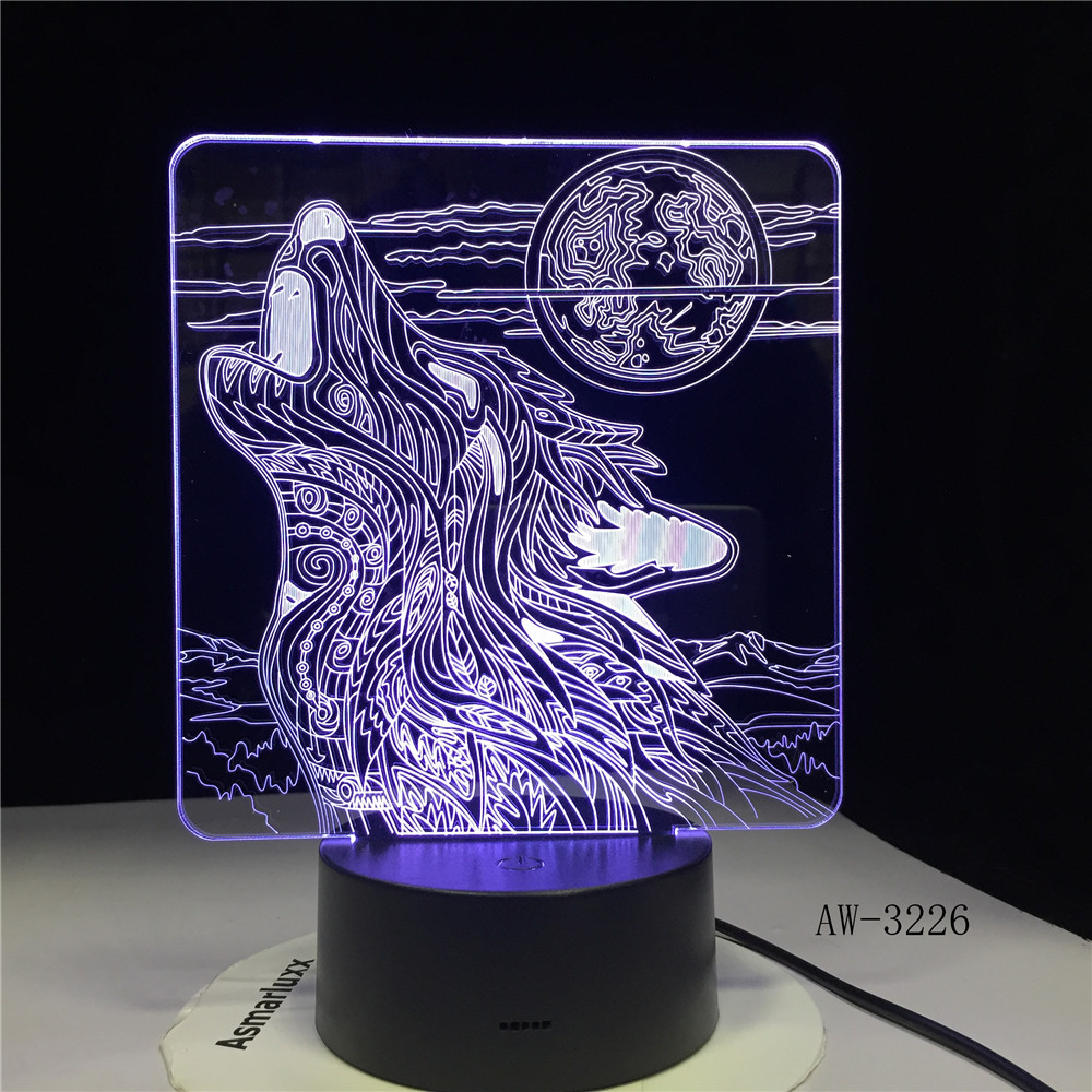 Full-moon Night Howl Wolf 3D LED Acrylic RGB Night Light USB Touch Control Home Kids Desk Lamp Child Gift Dropship AW-3226 image