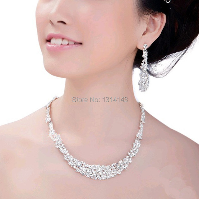 New women Jewelry Free Shipping Crystal Bridal Wedding Jewelry Sets African Jewelry Set Necklaces Earrings Fashion Jewelry