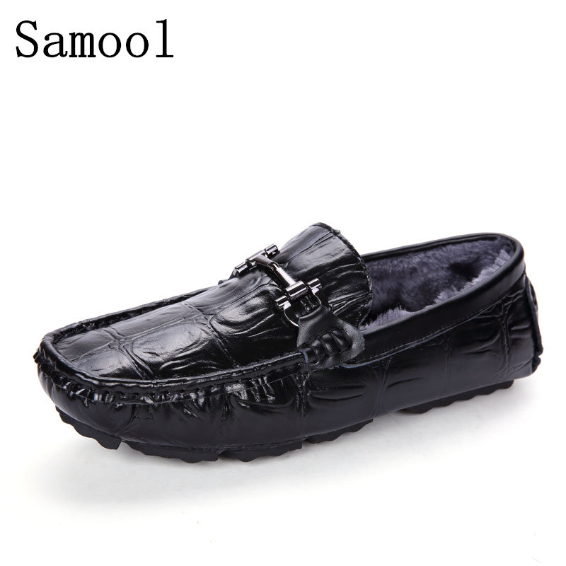 2017 Winter Keep Warm Soft Genuine Leather Flats Loafers Men Shoes Casual Luxury Fashion Cashmere Slip On Driving Shoes farvarwo genuine leather alligator crocodile shoes luxury men brand new fashion driving shoes men s casual flats slip on loafers
