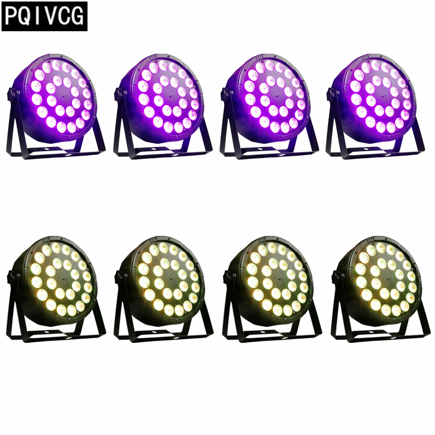 8pcs lot 24x12w rgbw led par light rgbw 4in1 dmx512 plastic par light professional stage dj