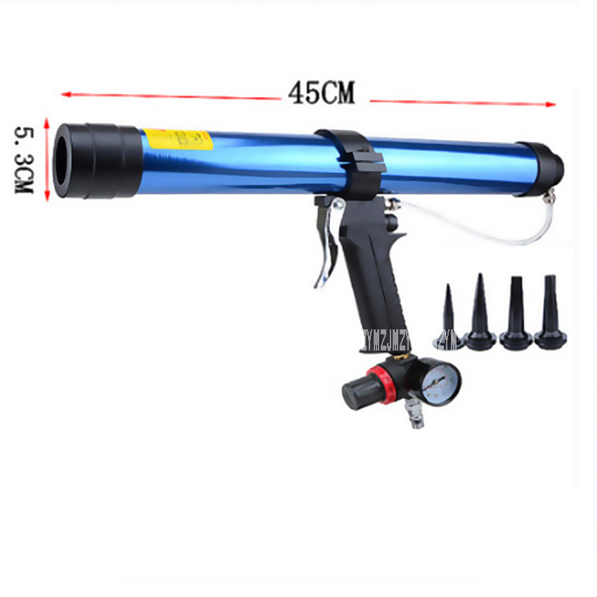 600ML Sausage Soft Pneumatic Caulking Gun Glass Glue Air Rubber Guns Tool Caulking Gun Glass Glue Gun With Control Valve 6.8 Bar