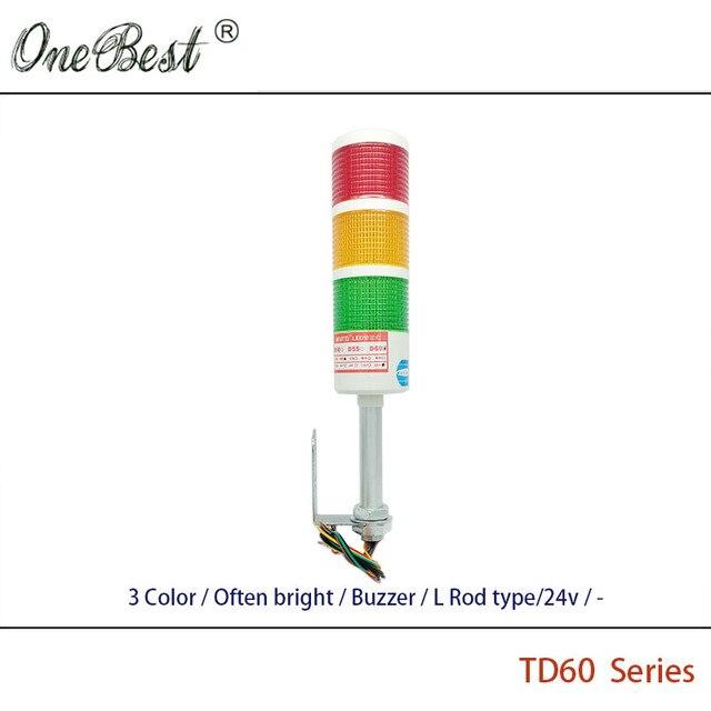 Бесплатная Доставка HNTD TD60 Стержня L Тип 24 В СВЕТОДИОДНЫЙ Световой сигнал контрольная Лампа 3 Цвет Часто Яркий Зуммер СВЕТОДИОДНЫЙ Индикатор Для машина