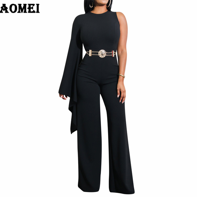 Women White Jumpsuit Romper One Shoulder Overalls Officewear Combinaison Fashion Female Wear Jumpsuits For Elegant Lady Clothing
