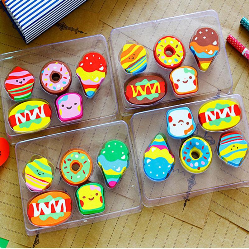 Купить с кэшбэком 5pcs/lot cute creative  cake rubber eraser kawaii school Office supplies papelaria regalo per i capretti Spedizione gratuita
