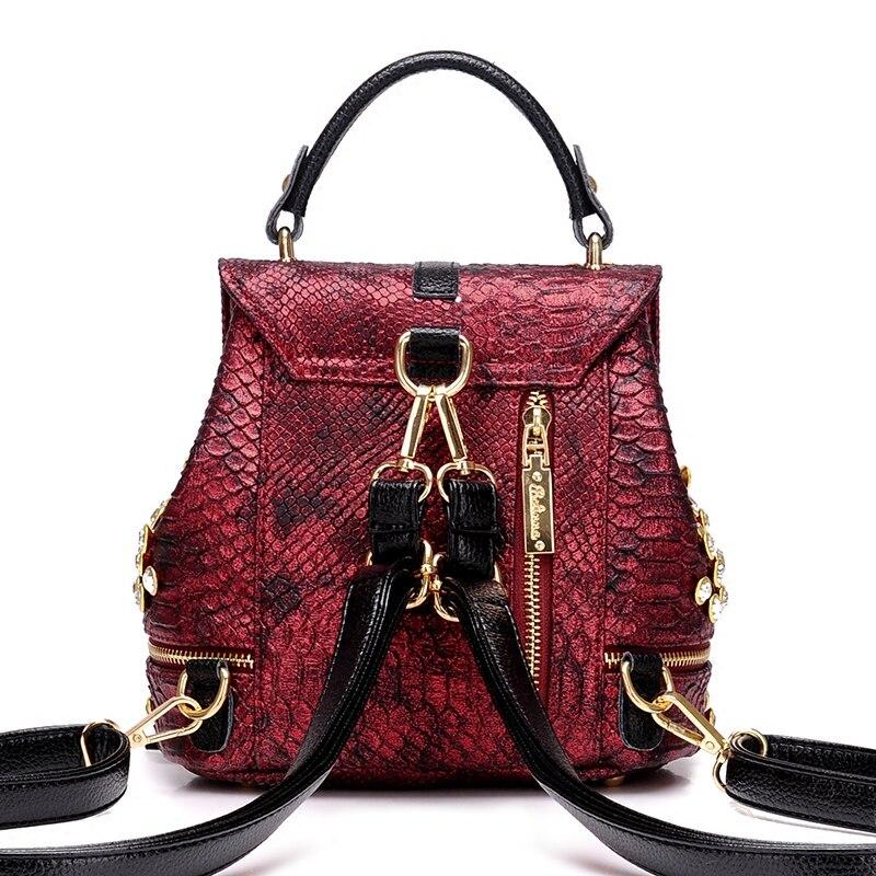 2019 New Fashion Women Alligator Diamond Backpack Shoulder Bag Fashion PU Female Backpack Girl School Bag S106 3