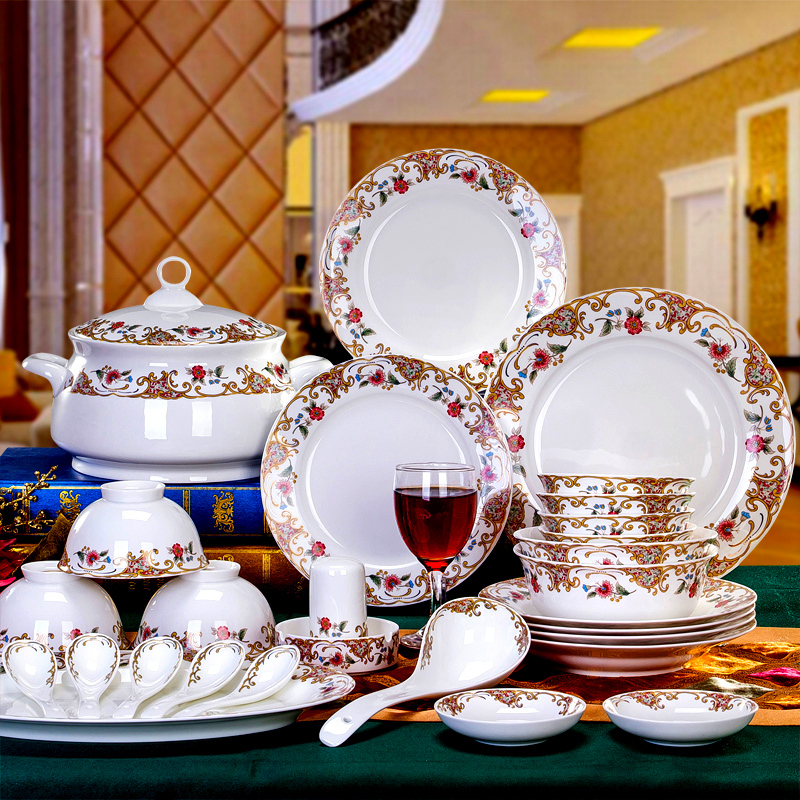 56 Pieces Cutlery Set High Quality Bone China Crockery Dish