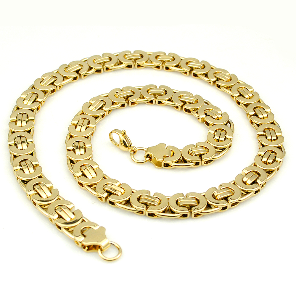AMUMIU 11mm Gold Huge Heavy Long Stainless Steel Byzantine Men Chain Necklace 316L Stainless Steel Jewelry Golden KN016 in Chain Necklaces from Jewelry Accessories