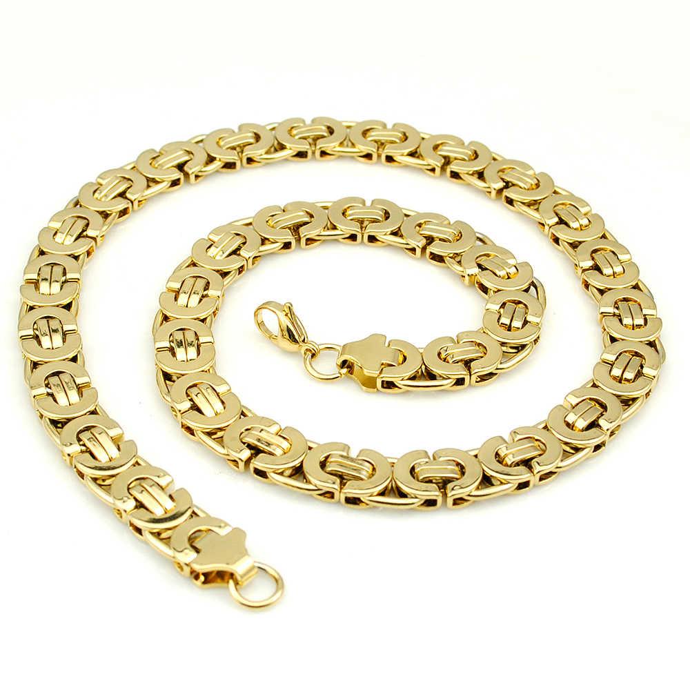 AMUMIU 11mm złoty ogromny i ciężki długi ze stali nierdzewnej bizantyjski mężczyźni naszyjnik łańcuch biżuteria ze stali nierdzewnej 316L złoty KN016