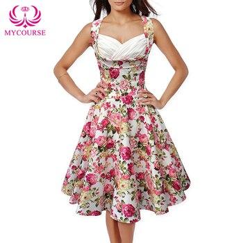 3271baa76f9 Mycourse Летние Платья с цветочным принтом 2016 г. винтажные Vestidos без  рукавов цветок 50 s