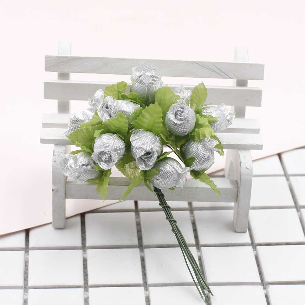 New artificial flower 24pcs lot with leaf small roses diy crafts home decoration wedding wedding party decorative flowers in Artificial Dried Flowers from Home Garden