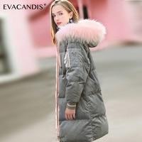 Grey Fur Collar Hooded Long Winter Jacket Women Parka Coat Down Cotton Velour Korean Warm Thick Zipper Pink Pocket Overcoat