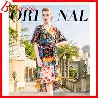 Summer dress 2019 women batwing sleeve midi dress printed elegant dress V neck silk vintage dress