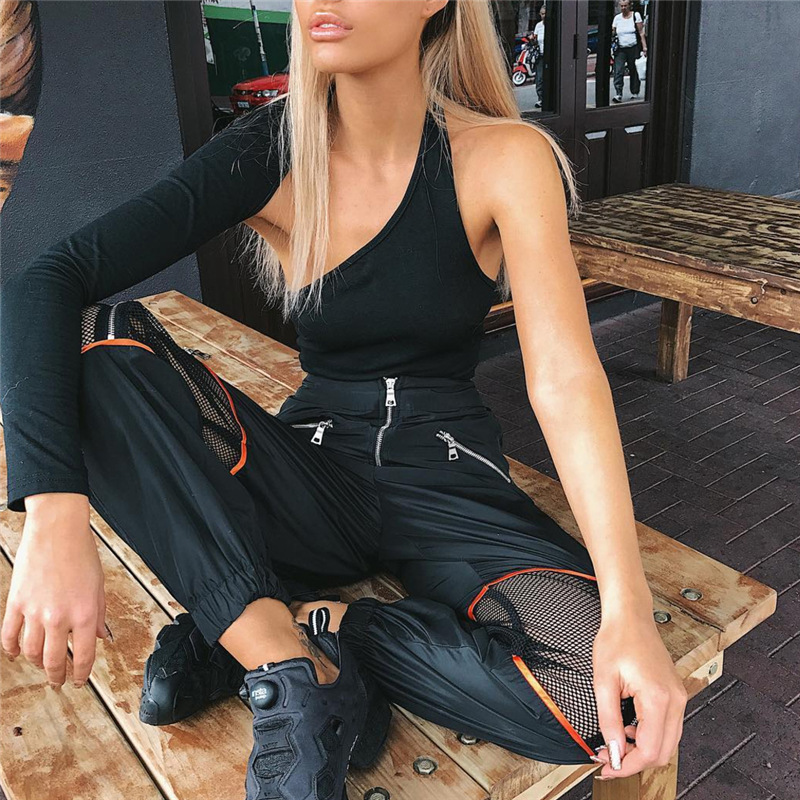 2018 Women Casual Sweatpants Loose Mesh Patchwork Hollow Out Harajuku Trousers Womens High Waist Hip Hop Zipper Pants