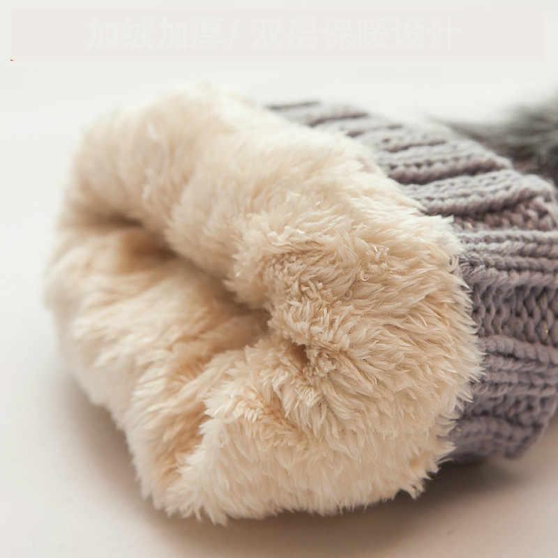 Chaud hiver skullies bonnets tricoté chapeau femmes marque de haute qualité hiver femmes balle Ski laine fourrure chapeau pompons chapeaux tricoté écharpe