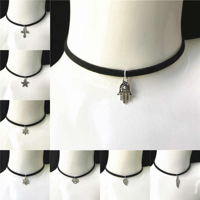 Hot Fashion Female Wax Rope Necklace Lovely Wings Leaf Star Cross Snowflake  Black Velvet Choker Necklace DIY Jewelry Gift
